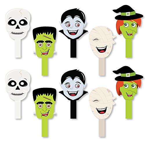Halloween Monsters- Halloween Party Paddle Props - Selfie Stick Photo Props - Set of 10