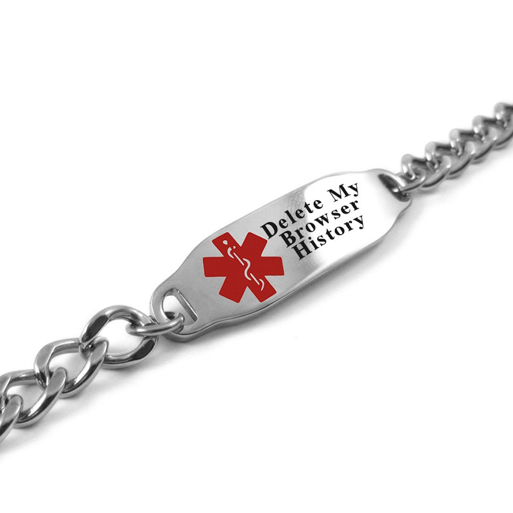 My Identity Doctor USA - Please Delete My Browser History Medical Alert Bracelet, LOL Gift, Geeky Gadget