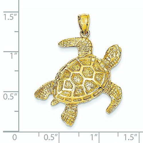 2-d 14 Carats Pendentif Tortue de Mer-JewelryWeb
