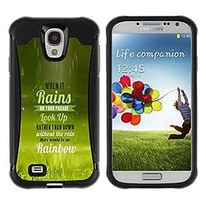 iKiki Tech / Estuche rígido - Rain Parade Rainbow Look Up Quote Life - Samsung Galaxy S4 I9500