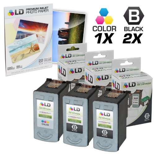 LD Remanufactured Canon #PG-30 & #CL-31 Combo Set - 2 Black #PG-30 and 1 Color #CL-31 & Free 20 Pack of LD Brand 4x6 Photo (Canon Ip1800 Photo Printer)