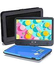 SUNPIN Draagbare dvd-speler voor auto en kinderen met houder, 10,5 inch HD-scherm, 5 uur oplaadbare batterij, afstandsbediening autolader, wandlader, regio vrij, blauw