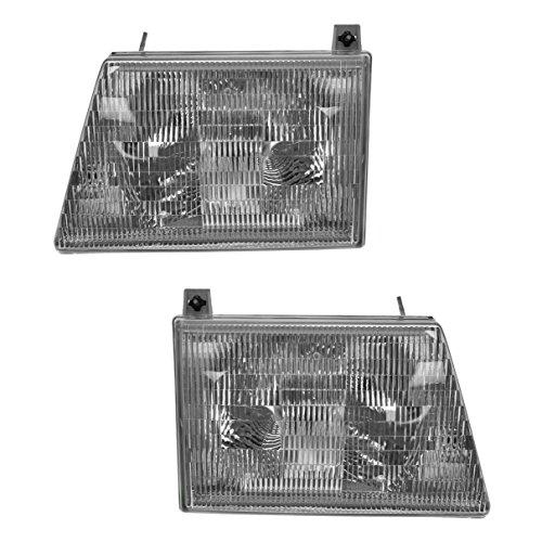 Headlights Headlamps Left LH & Right RH Pair Set for Ford Van E350 E150 E250 ()