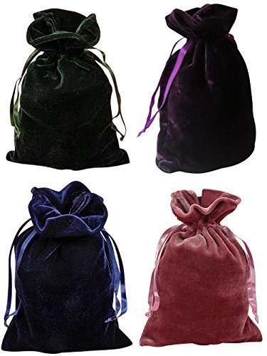 "Paper Mart Tarot Bags Luxurious Velvet Bundle of 4: Hunter Green Navy Blue Rose and Purple 6"" X 9"" Each"