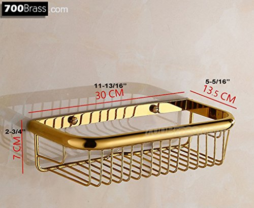 Polished Brass Shower Caddy - 700Brass Basket Shelf 11.8 Inch Design for Hotel/Motel/Home, Solid Brass, Polished Gold, Wall Mounted, Bathroom/Kitchen Shower Caddy Corner Organizer Holder