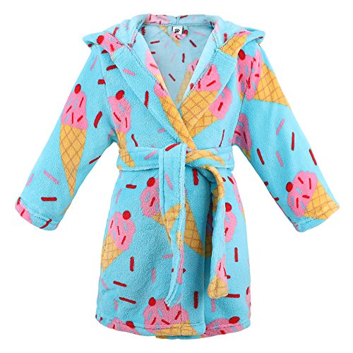 ARCTIC Paw Little Girl's Coral Fleece Bathrobe Robe Pajamas Sleepwear,Ice Cream,S
