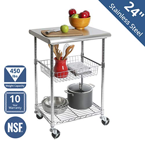 Seville Classics Stainless-Steel NSF-Certified Professional Kitchen Work Table Cart, 24″ W x 20″ D x 36″ H
