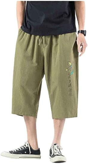 Beeatree Men's Big & Tall 3/4 Pants Cotton Linen Chinese Style Wide Leg Pants
