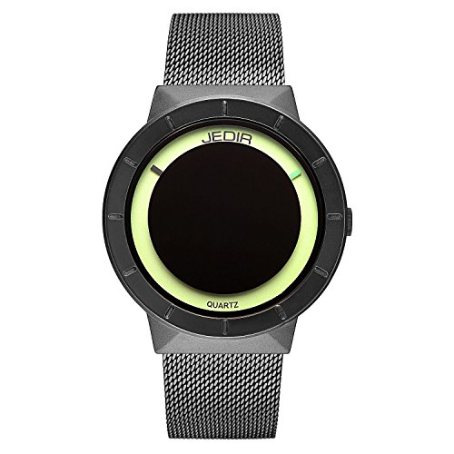 JEDIR Fashion Men Wrist Watch Exquisite and Concise Analog Quartz Dial with Steel Mesh Strap (Black) by JEDIR