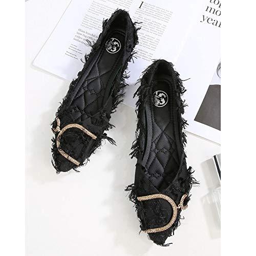 Moda Lavoro Casual Damigella Bottoni Da D'onore Mocassini Black Barca Decorazione Scarpe Basse Mocassino Metallici Con gxx7wq14O