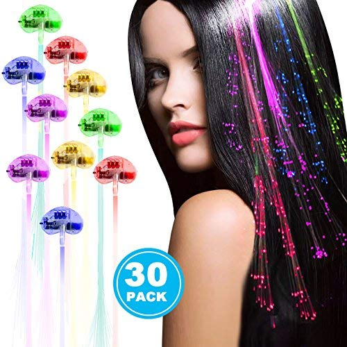 Acooe 30 Pack LED Lights Hair, Light-Up Fiber Optic LED Hair Barrettes Party Favors Party, Bar Dancing Hairpin, Hair Clip, Multicolor Flash Barrettes Clip Braid (30pcs) by Acooe