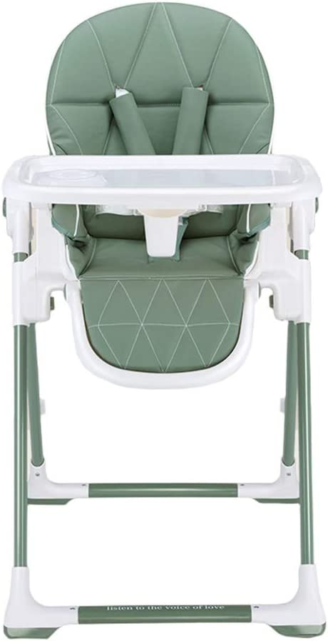 DUWEN ハイチェア幼児用チェア子供用ダイニングチェアメタルディナーテーブル多機能折りたたみリクライニングチェアダイニングテーブルと椅子 (色 : 緑)