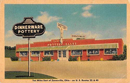 Zanesville Ohio Dinnerware Pottery Linen Vintage Postcard JD933177