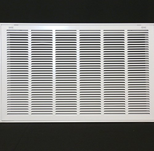 30'' X 18 Steel Return Air Filter Grille for 1'' Filter - Removable Face/Door - HVAC DUCT COVER - Flat Stamped Face - White [Outer Dimensions: 32.5''w X 20.5''h] by HVAC Premium