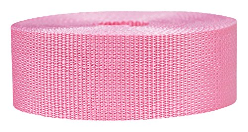 Strapworks Lightweight Polypropylene Webbing - Poly Strapping for Outdoor DIY Gear Repair, Pet Collars, Crafts - 2 Inch x 10 Yards - Pink