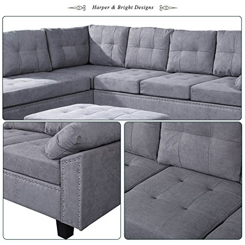 Harper & Bright Designs Sectional Sofa Set with Chaise Lounge and Storage Ottoman Nail Head Detail (Grey)