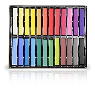 24 Piece Temporary Hair Chalk Set - Non-Toxic Rainbow Colored Dye Pastel Kit