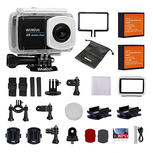 """4k Action Camera Touchscreen, WiMiUS L3 Underwater Sports Action Camera 2.45"""" LCD Wifi Ultra HD Helmet Camera Sony Sensor IMX078 with 20 Accessories Kits(Black) WiMiUS"""