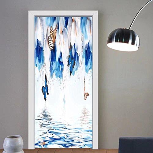 Block China Hydrangea (Carolyn J. Morin custom made 3d Door Wall Mural Wallpaper amazing butterfly fairy of flowers hydrangeas and iris For Room Decor 30x79)