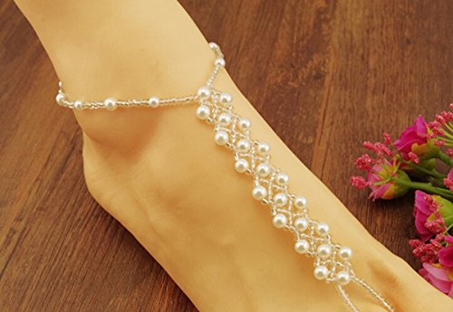 2PCS(1 Pair) Pearl Barefoot Sandals Beach Wedding Foot Jewelry Anklet Ankle Bridal Bracele