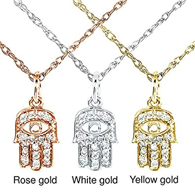 Amazon mini diamond accented hamsa hand of god pendant amazon mini diamond accented hamsa hand of god pendant chain in 14k gold jewelry aloadofball Image collections