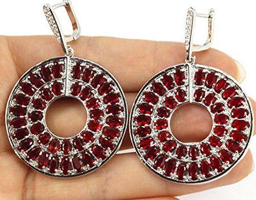 Sapphire Medallion (Sterling Silver Medallion Dangle Red Sapphire Earrings Hand Made Leaver Back Earring)