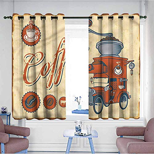 VIVIDX Living Room/Bedroom Window Curtains,Retro,Truck Coffee Grinder,Hipster Patterned,W55x45L