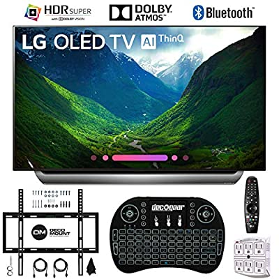"LG C8PUA 65"" OLED 4K HDR AI Smart TV with 2.4GHz Wireless Backlit Keyboard, Wall Mount Kit Ultimate Bundle and 750 Joule Surge Protector"