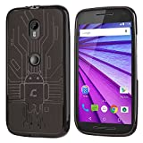 Moto G 3rd Gen Case, Cruzerlite Bugdroid Circuit Case Compatible for Motorola Moto G (3rd Generation) 2015 - Smoke (MG3-Circuit-Smoke)