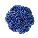 Ling's moment Artificial Flowers Royal Blue Roses 50pcs Real Looking Fake Roses w/Stem for DIY Wedding Bouquets Centerpieces Arrangements Party Baby Shower Home Decorations