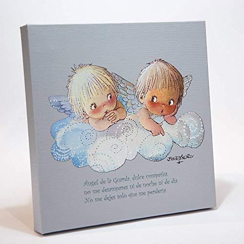 Angelitos Nube Azul Y Oraciónangel De La Guarda 30x30cm