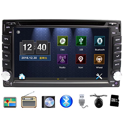 Eunavi 2 Din in Dash Universal Car Stereo with Navigation, 6.2-inch in Dash 2 Din Car GPS Touch Screen Car DVD Player with Bluetooth USB SD MP3 Car Radio with Backup Camera and Map Card
