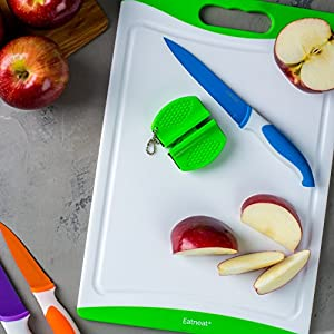 Eatneat 10 Piece Colorful Sharp Knife Set - 5 Kitchen Knives with 5 Knife Sheath Covers - Includes a Bonus Non-Slip Chopping Board + Knife Sharpener!