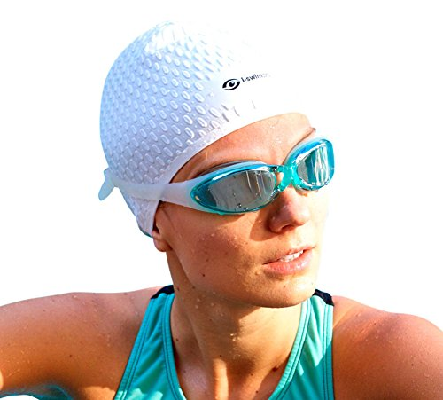 i-Swim Pro Swimming Caps - Plus Free Nose Clip + Ear Plugs - Comfortable - Stays in Place - Strong Silicone - Increases Speed - Best Swim Hats for Protecting Long, Thick and Short Hair