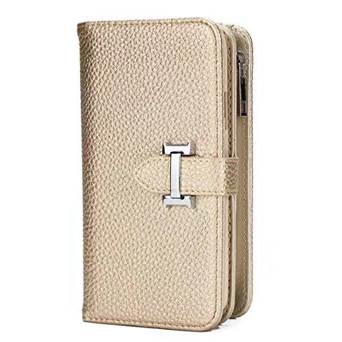 JIALUN-carcasa de telefono IPhone X Funda Solid PU Leather + TPU Funda con cremallera Carteras con ranuras para tarjetas desmontable 2 en 1 Diseño para IPhone X ( Color : Black ) Gold