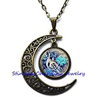 Crescent Moon Necklace Handmade,Music Necklace, Music Pendant, Musician Musical Necklace Pendant, mens Necklace Pendant Jewelry,photo pendant art pendant photo jewelry art jewelry glass jewelry