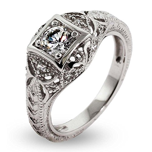 Vintage-Deco-Style-Sterling-Silver-CZ-Engagement-Ring