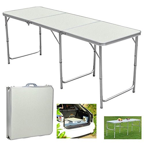 Aromdeeshopping Folding Table in Outdoor Picnic Party Dining Camping Table Portable Aluminum 6ft ()