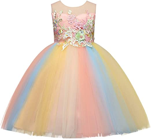 Flower Girl Dress Bohemian Print Tulle Tiered Layer White Wedding Kids Size 2-10