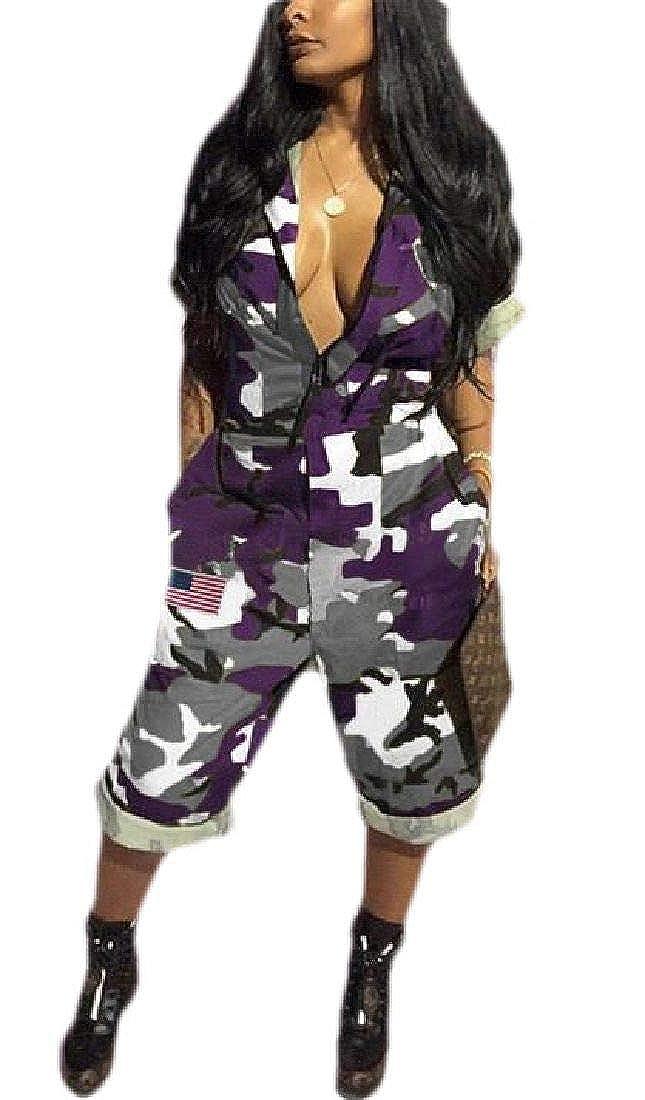 Spirio Women Loose Pockets Camo Print Casual Short Sleeve Jumpsuit Romper