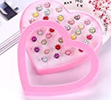 Zhahender Little Girls Accessory Jewellery Toy 36 Pcs/Set New Children's Ring Boutique Love Gift Box Ring (Pearl Ring)