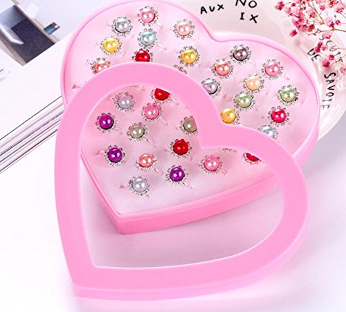 Zhahender Little Girls Accessory Jewellery Toy 36 Pcs/Set New Children's Ring Boutique Love Gift Box Ring (Pearl Ring) by Zhahender