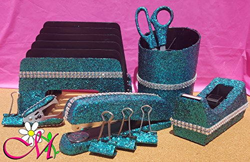 Turquoise Office Supplies: Turquoise Glitter Desk Stapler, Tape Dispenser, Scissors, 4 Binder Clips (32mm), Large Pencil Cup, Incline File Sorter, and Stapler Remover Set, (Your Choice of Color) (Office Supplies Turquoise)