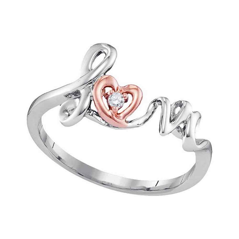 10KT Two-tone Rose Gold Round Diamond Heart Love Ring .02 Cttw