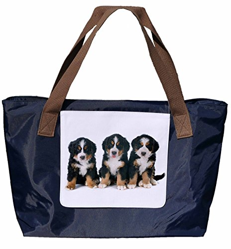 Shopper /Schultertasche / Einkaufstasche / Tragetasche / Umhängetasche aus Nylon in Navyblau - Größe 43x33cm - Motiv: Berner Sennenhund Porträt - 04