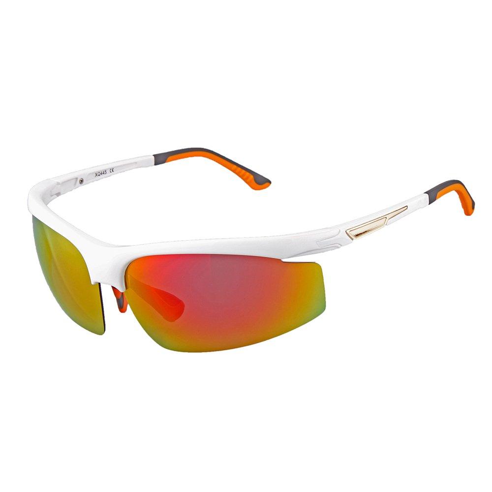Ewin E38 Lunettes de soleil de sport polarisées pour hommes et femmes pour pratiquer cyclisme conduite pêche golf et autres activités en extérieur(Noir&Gris) U6BNnA