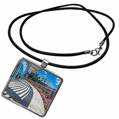 3dRose Boehm Photography Landmark - Getty Museum Cafe View - Necklace With Rectangle Pendant - Museum Cafe