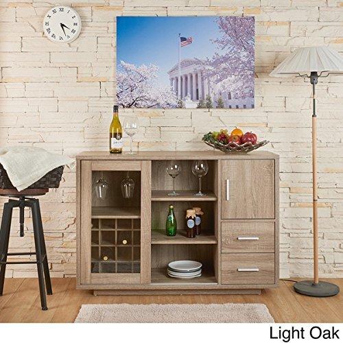 Julienne Modern Sliding Door Wine Bar Dining Server (light oak) (Light Oak Buffet)