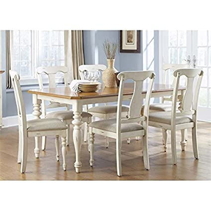 Liberty Furniture Ocean Isle Dining 7 Piece Rectangular Table Set, Bisque  With Natural Pine