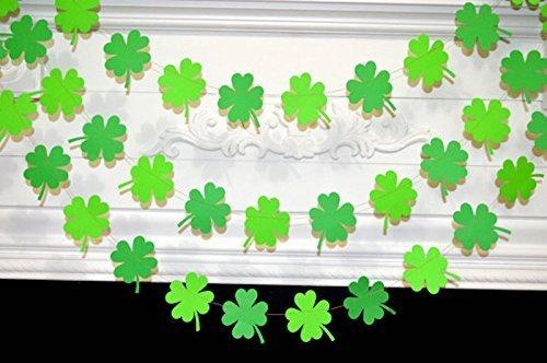 St Patrick's shamrock garland, St Patty's decoration, Shamrock garland, shamrock decoration, Irish garland, Green/Gold decor (Patricks Day Streamer)